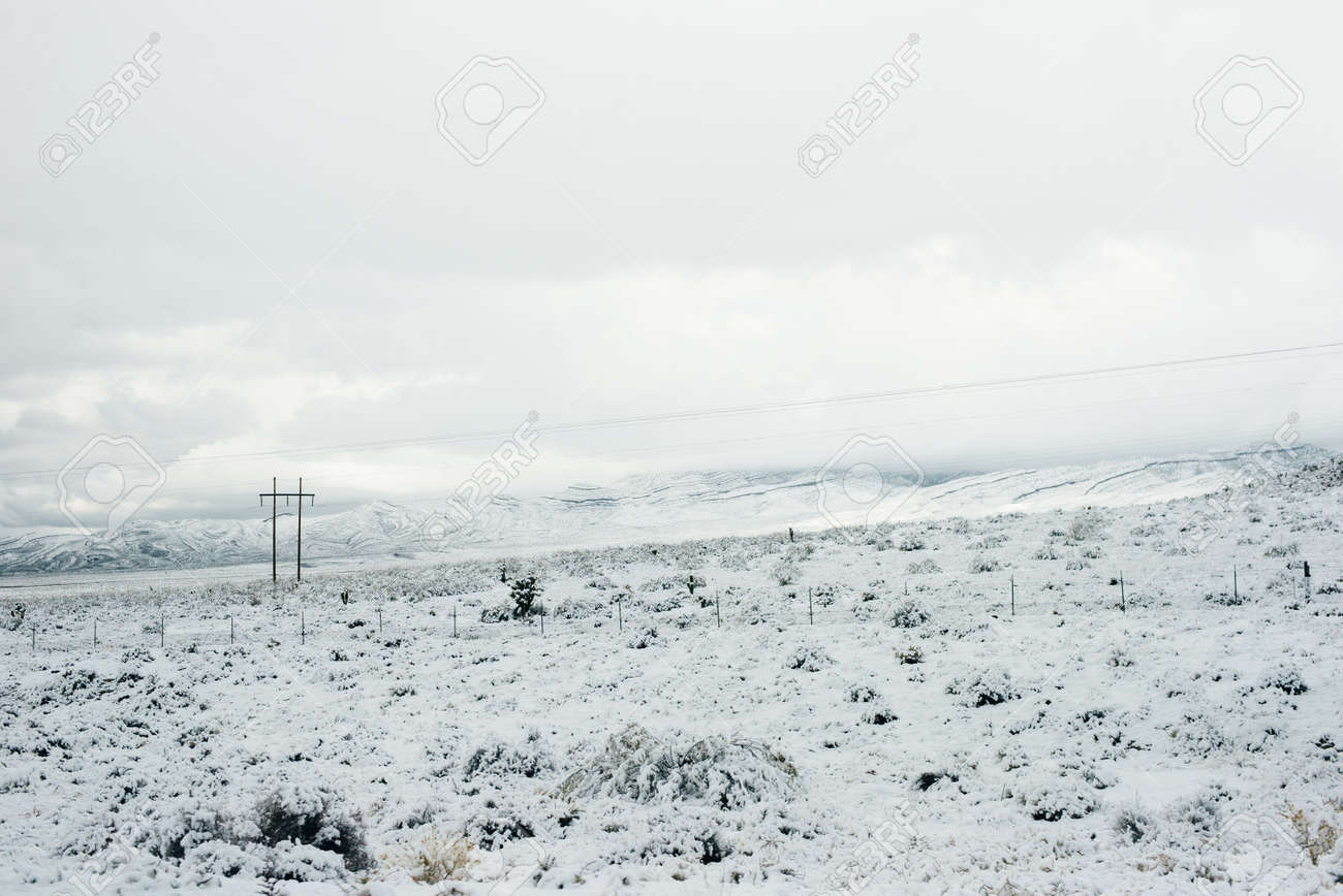 Bend along a snow covered road in a mountain setting in winter, USA - 169729338