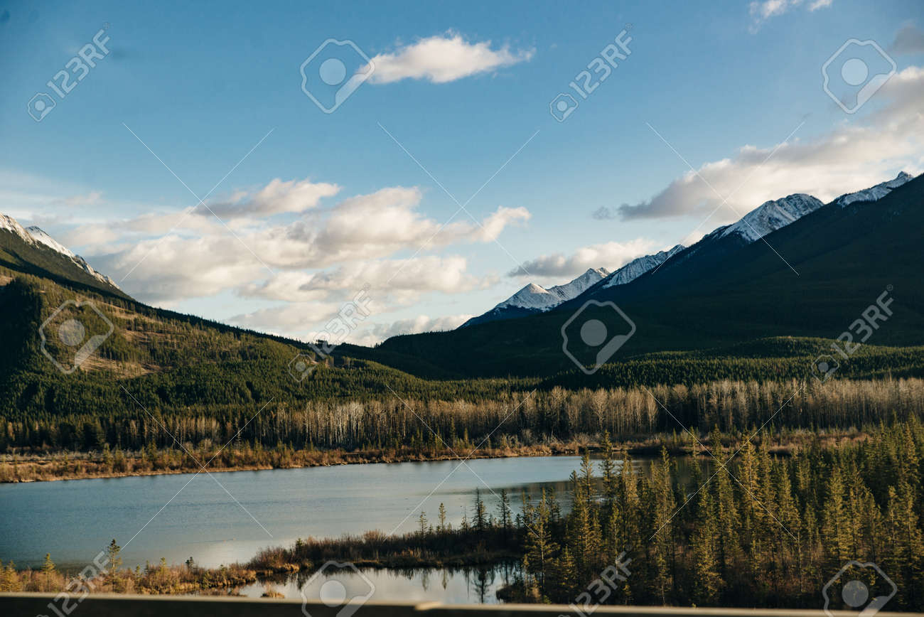 Snowy winter scenery in the Canadian Rocky Mountains - Mount Rundle and Vermillion Lakes - Banff National Park, Canada. - 169712071