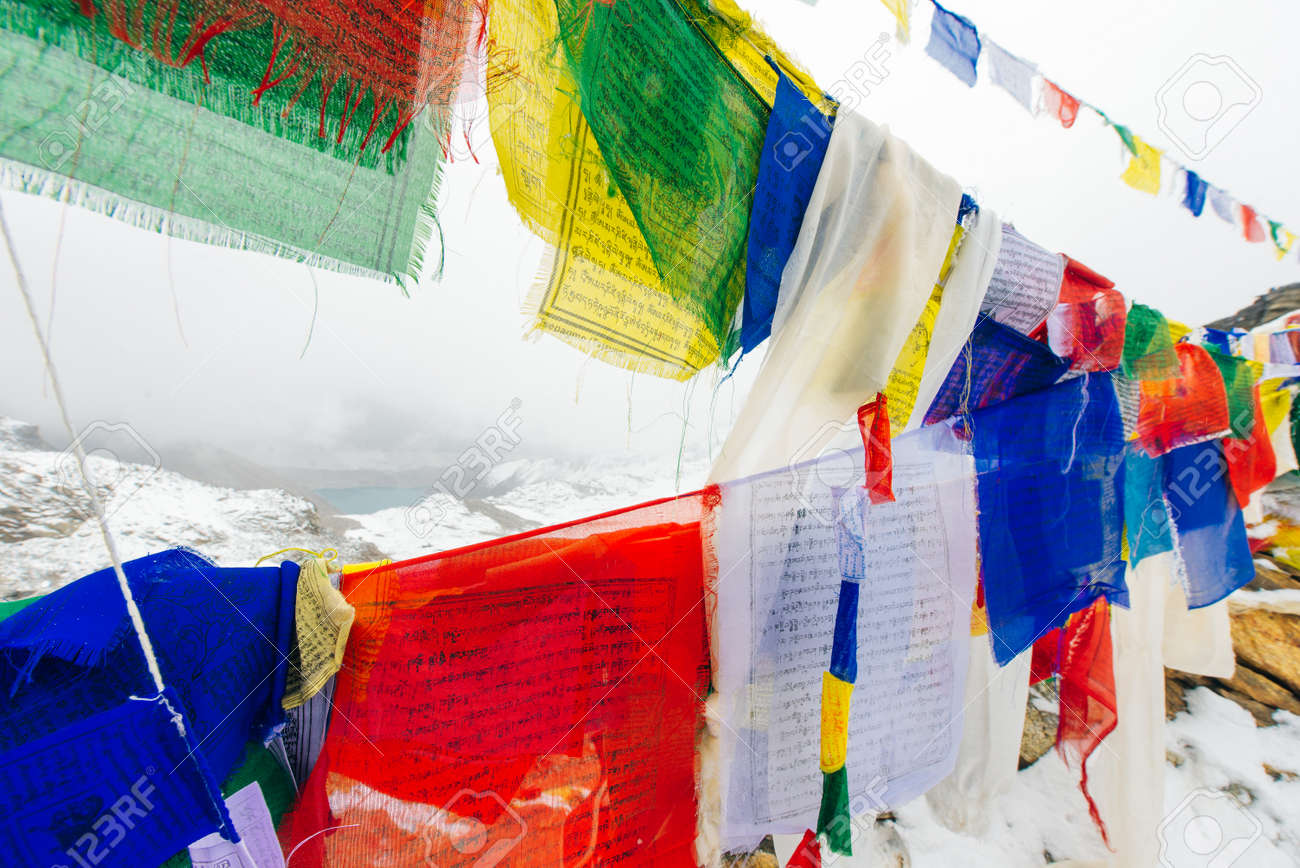 Colorful Buddhist prayer flags at blue sky in Kathmandu valley, Nepal. - 169727760