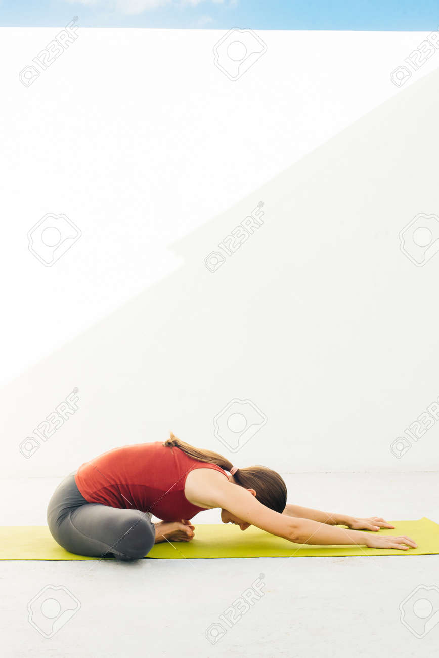 Side view portrait of beautiful young woman doing yoga or pilates exercise. - 169579917