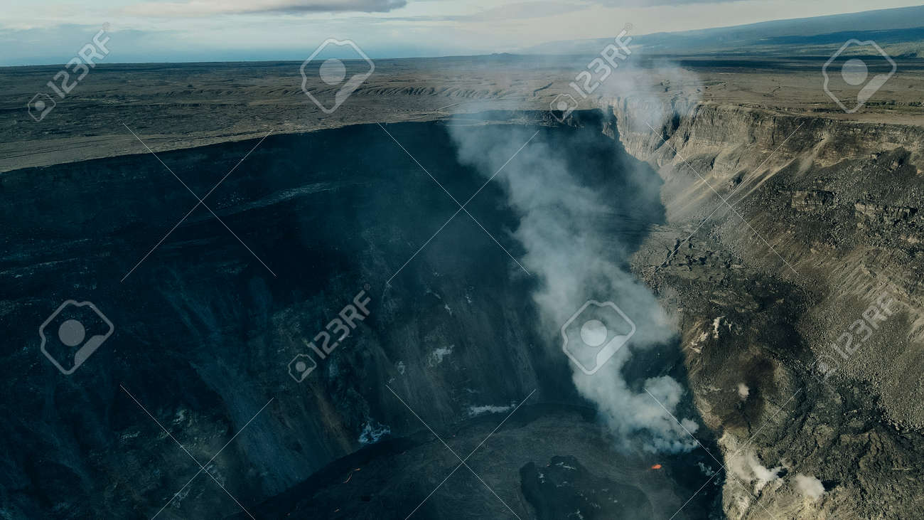 Helicopter over Kilauea Volcano in Hawaii Volcanoes National Park on the Big Island. - 169776278