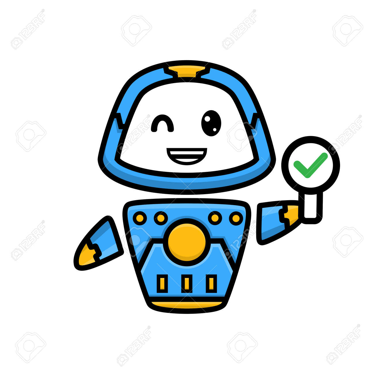 cartoon of cute robot holding sign - 156469075