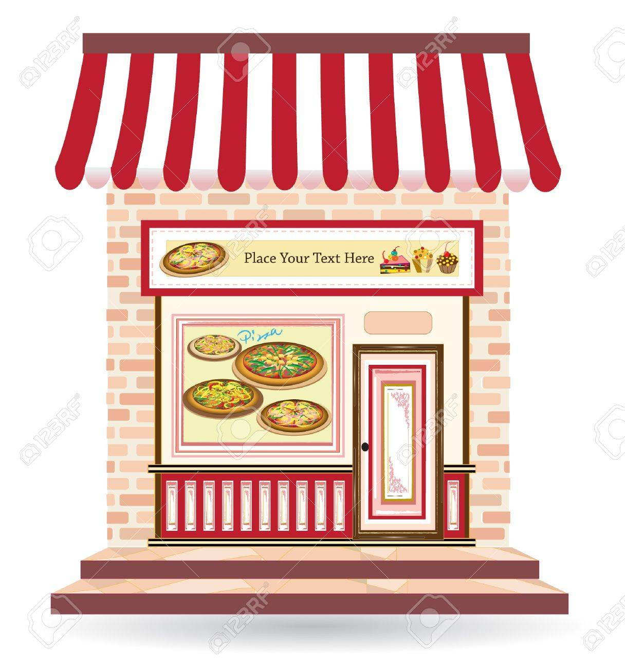 pizza restaurant with signs on door and in front Stock Vector - 15362206