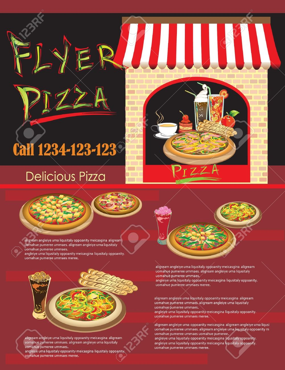 Template Flyer Pizza De Menú Página Web Restaurant Ilustraciones ...