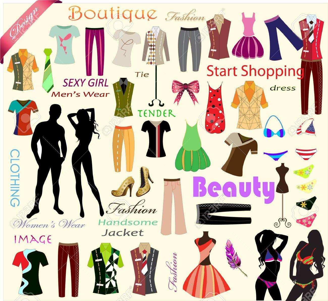 collection of designer fashion clothes Stock Vector - 15543439