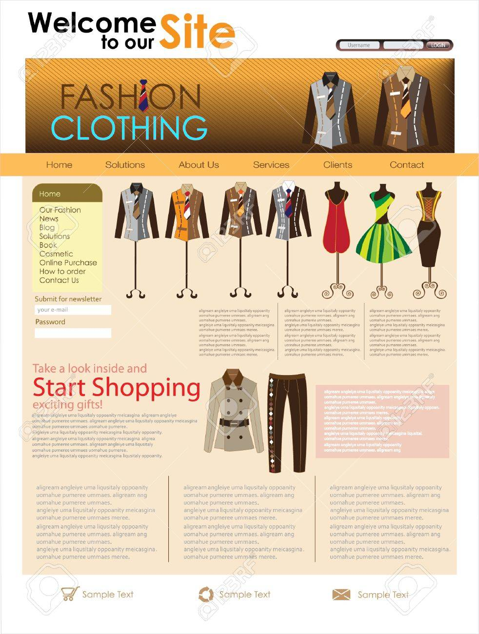 Fashion Design Website Template. Illustration Royalty Free ...
