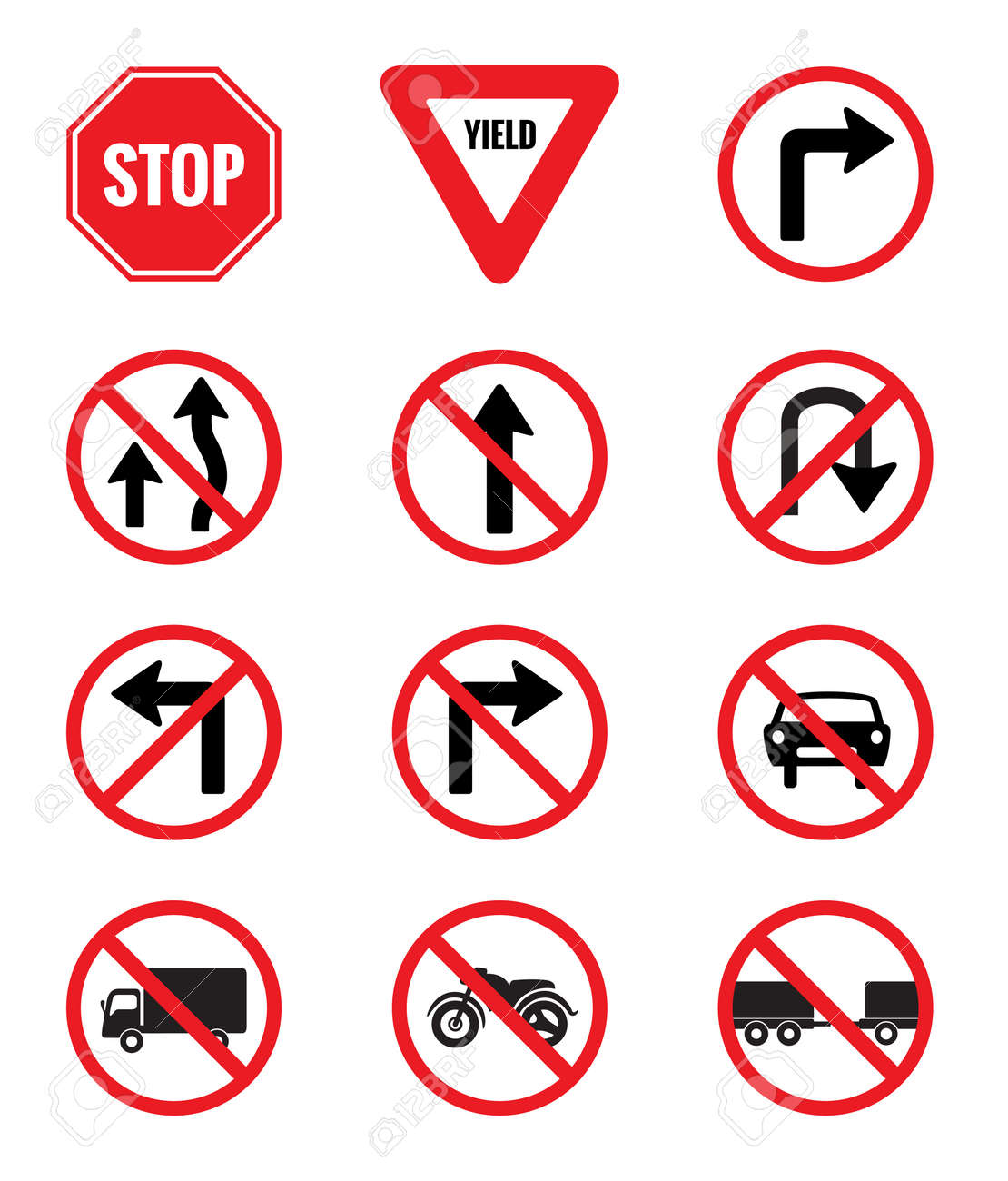 Traffic Signs Pack Set vector on white background - 50658278