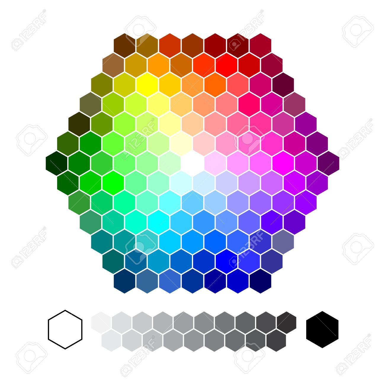 Color chart hexagon vector royalty free cliparts vectors and color chart hexagon vector stock vector 51995160 nvjuhfo Images