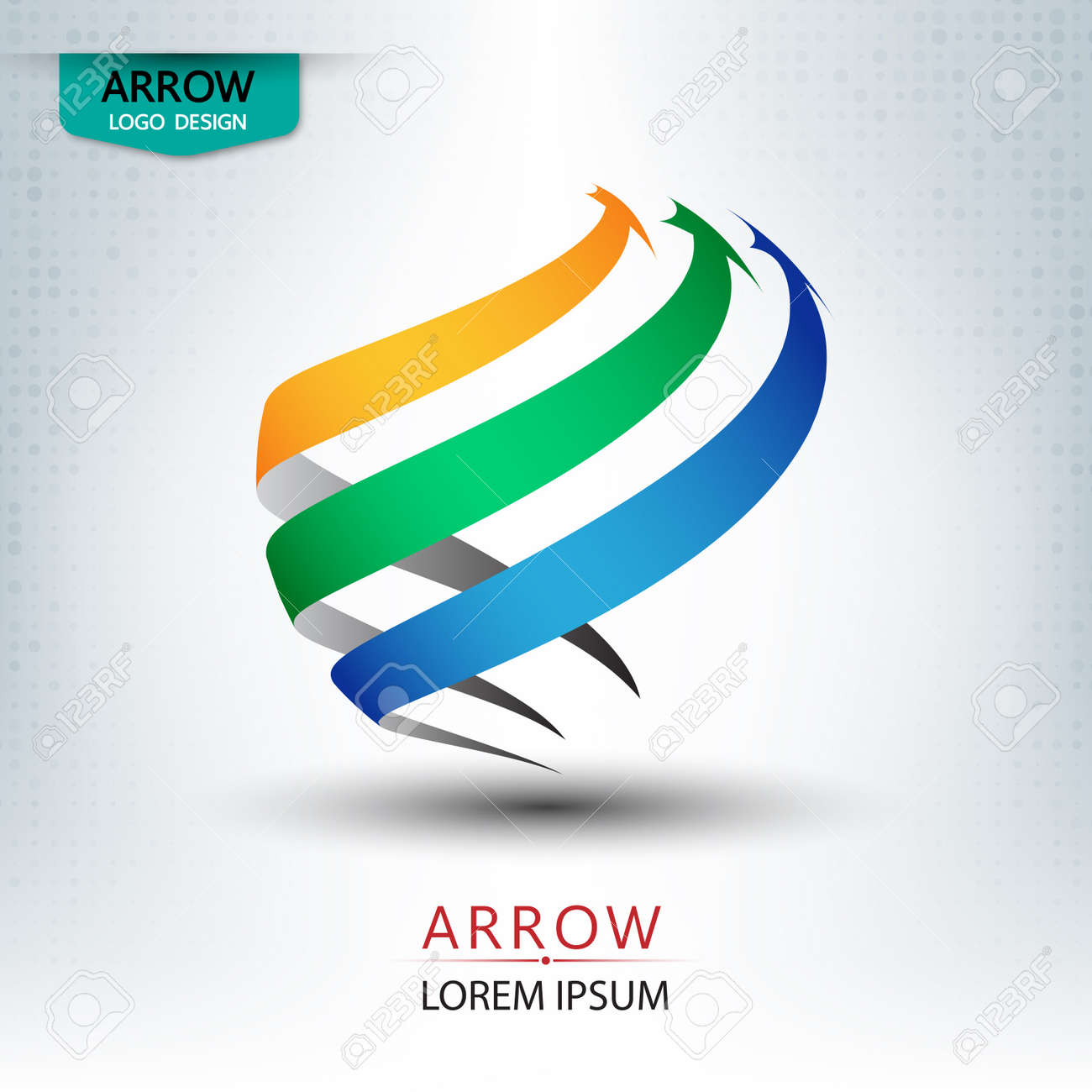 triple arrow logo design round shape vector illustration royalty