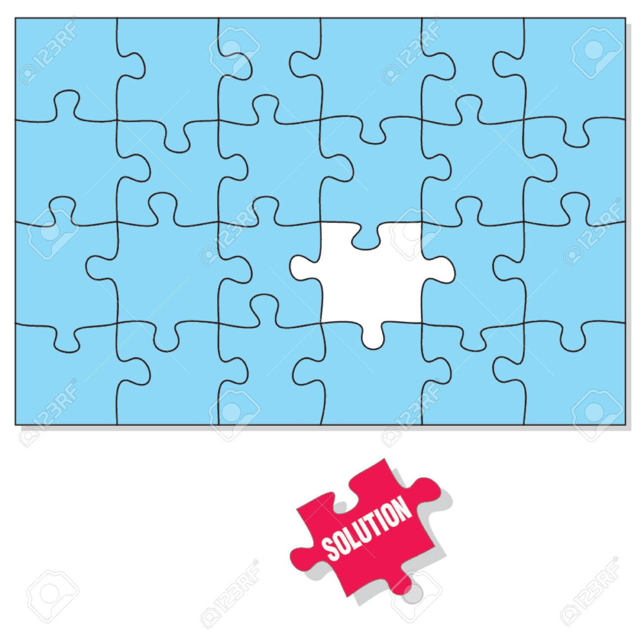 Puzzle Pieces The Solution Piece Is Missing Stock Vector