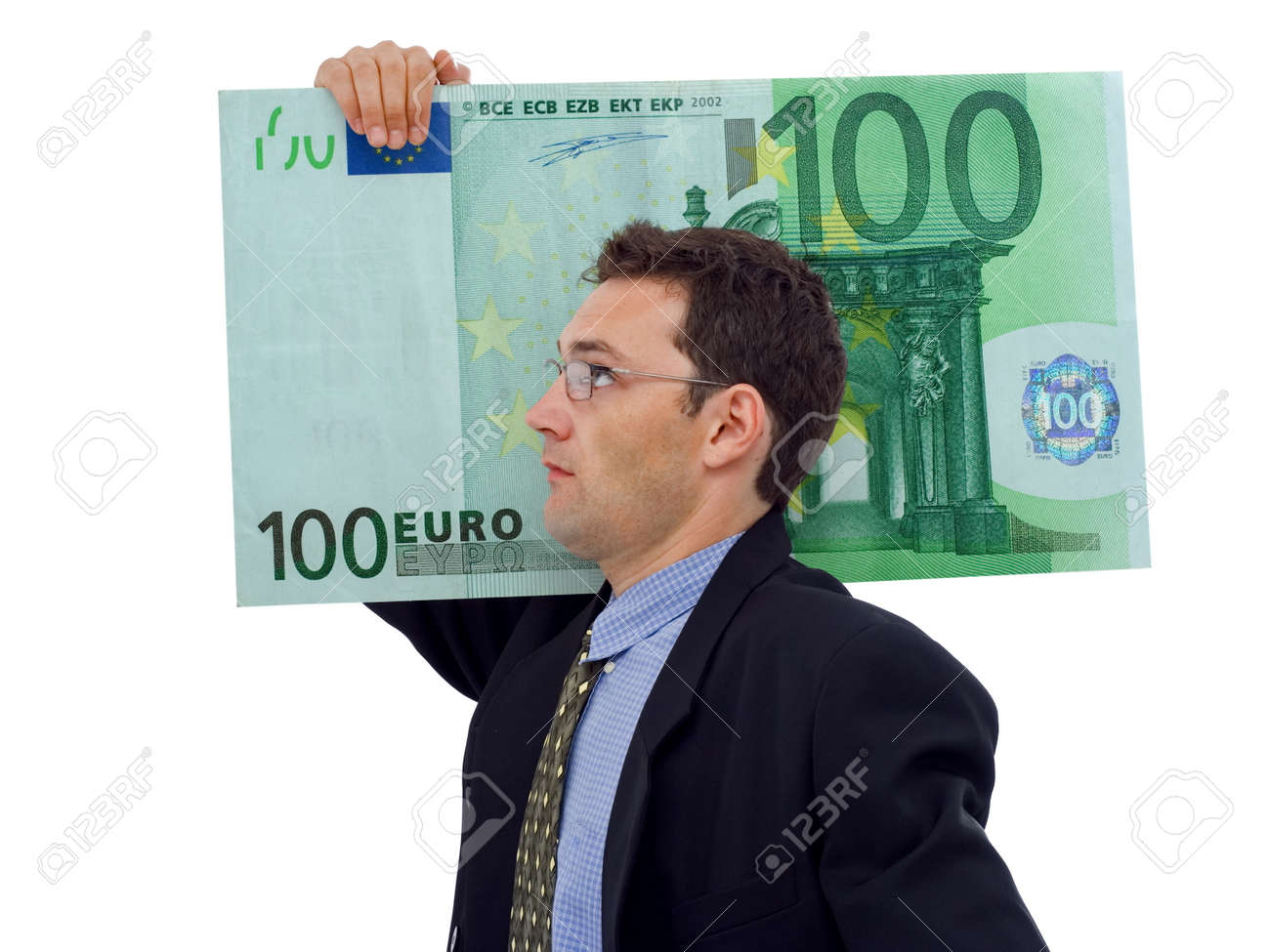 Businessman carrying a big hundred euro Stock Photo - 1576884