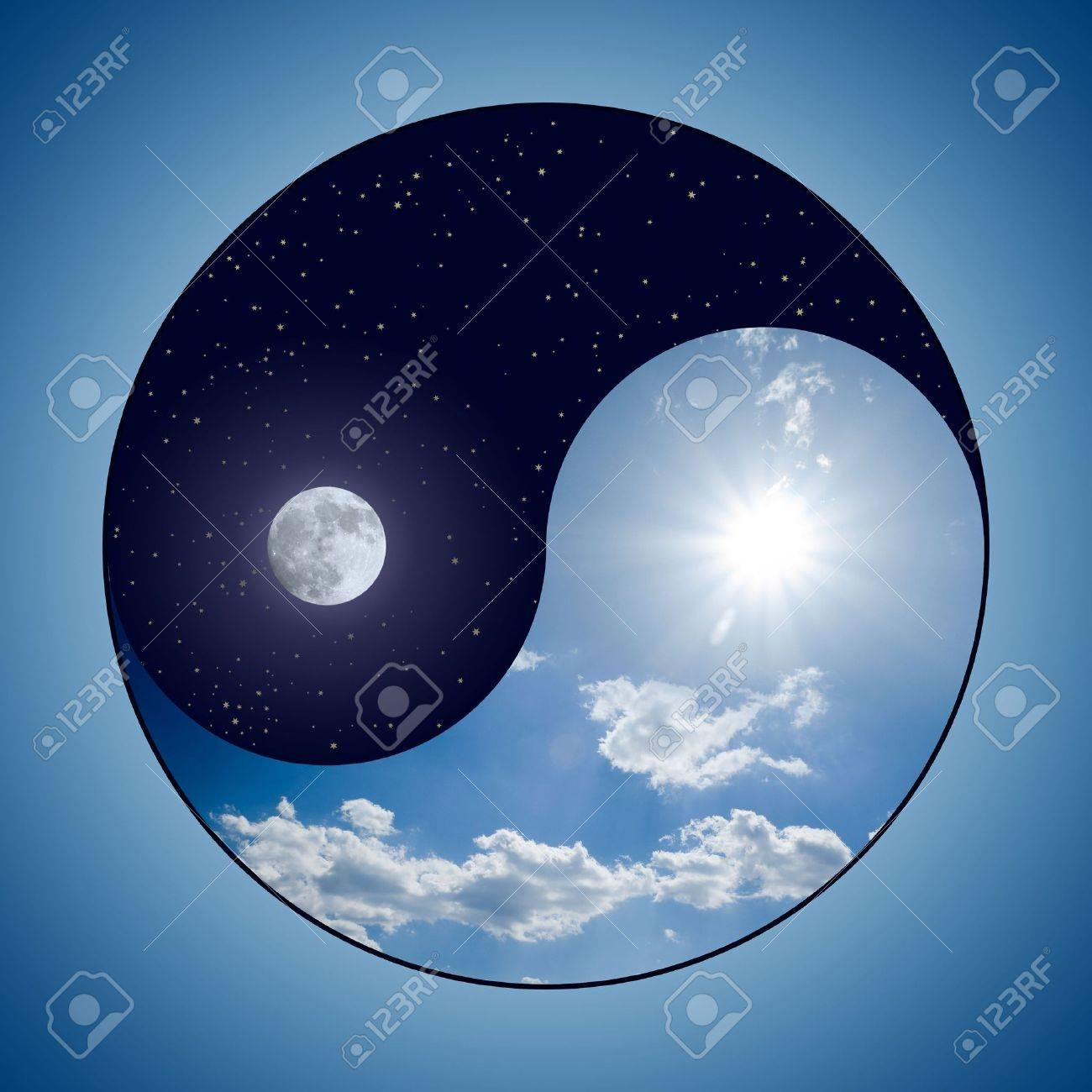 Modified Yin & Yang symbol - sunny day versus moon at night Stock Photo - 3705880