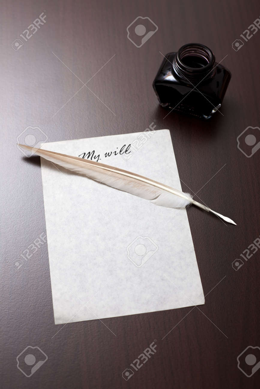 Old style my will letter: blank paper, quill and feather