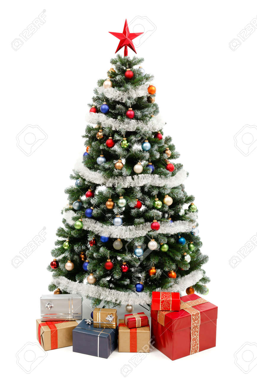 Real christmas trees with presents - Artificial Christmas Tree Isolated On White Decorated With Colorful Ornaments And Silver Garland A