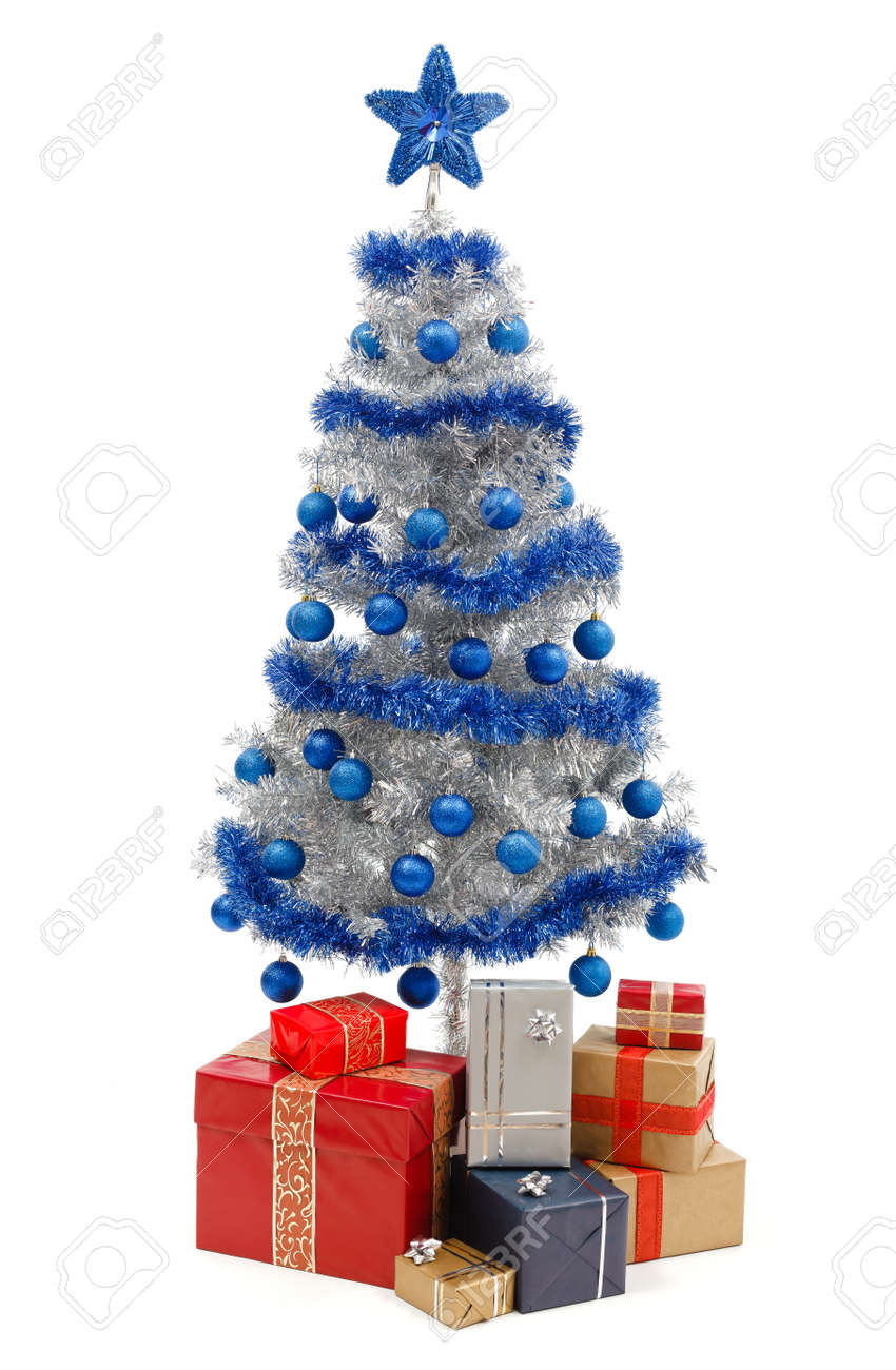 White christmas tree with blue and silver decorations - Artificial Silver Christmas Tree Isolated On White Decorated With Blue Ornaments And Silver Garland
