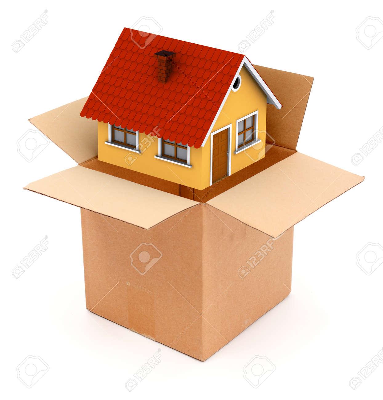 Embalaje O Desempaquetar Una Pequeña Casa En Caja De Cartón. Vista ...