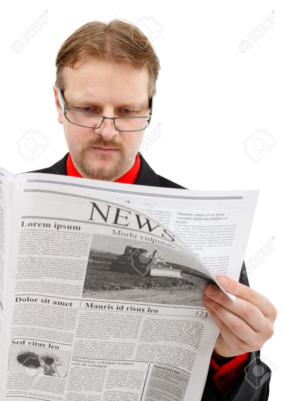 man reading news. lorem ipsum newspaper stock photo, picture and