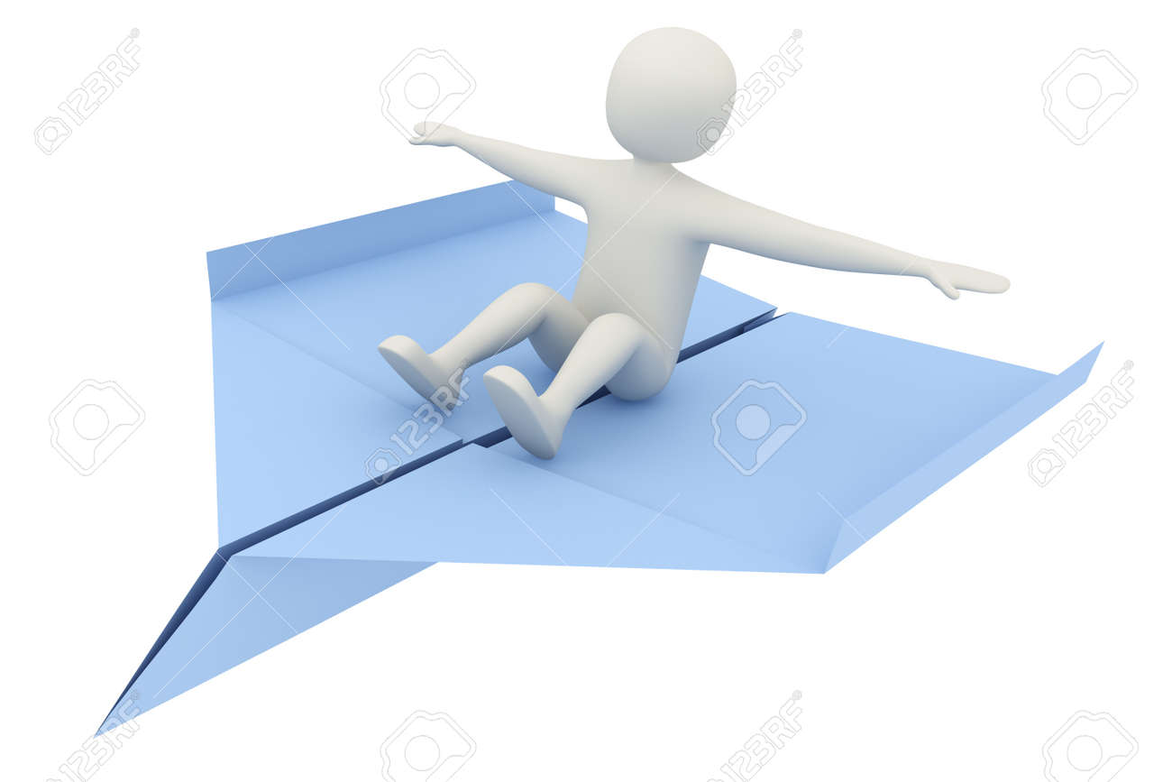 3d man flying on blue paper airplane. Freedom, travel or balancing concept Stock Photo - 9566142