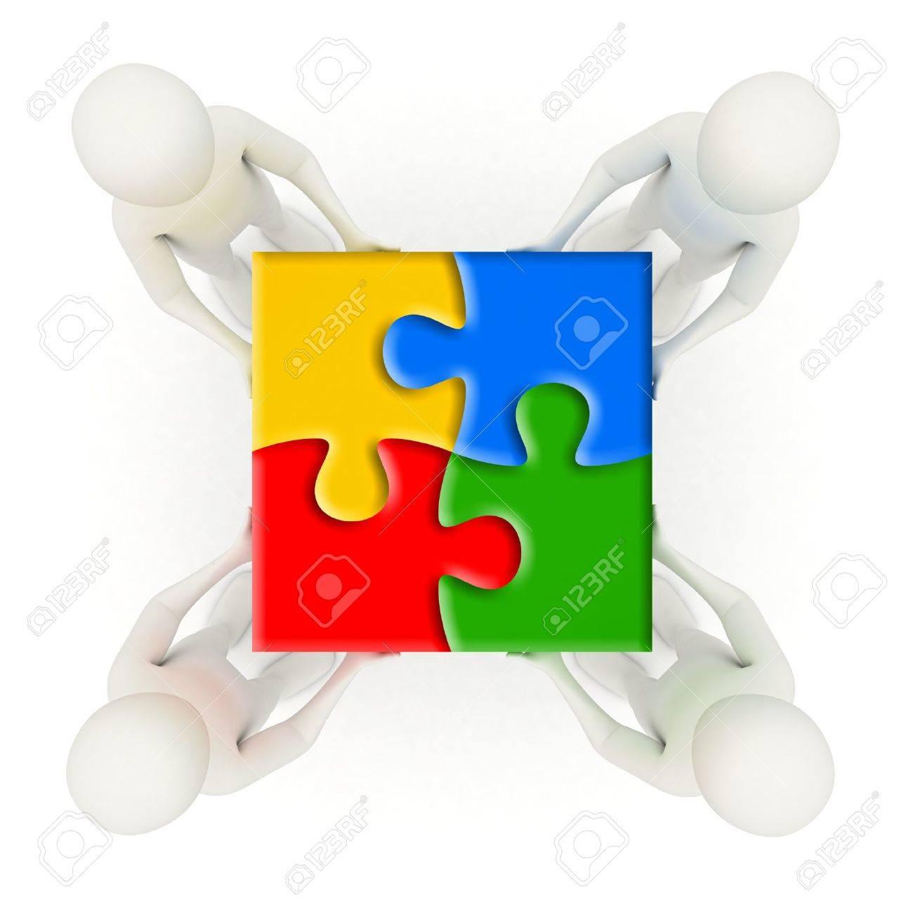 Four 3d men holding colorful, assembled jigsaw puzzle pieces Stock Photo - 9626186