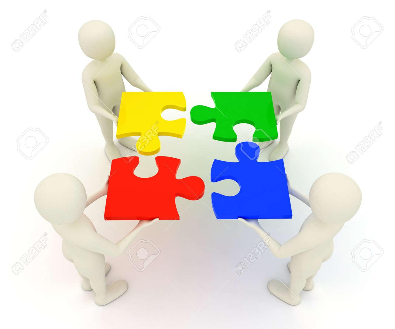 Four 3d Men Assembling Colorful Assembled Jigsaw Puzzle Pieces Stock Photo