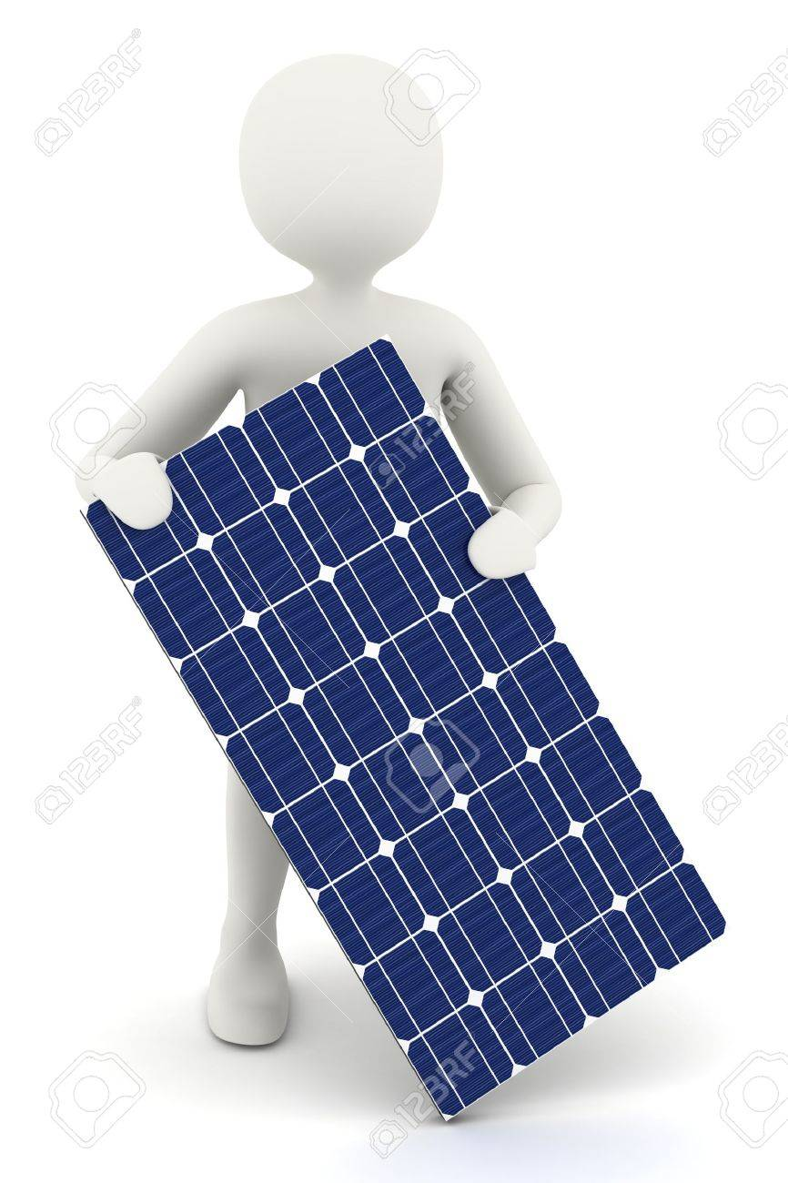 3d man holding one piece of solar panel stock photo, picture and, Powerpoint templates