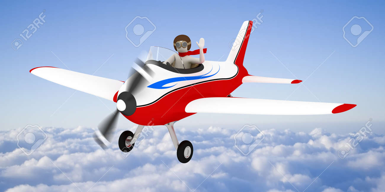 3d white man flying with plane high in the sky, over the clouds Stock Photo - 10658862