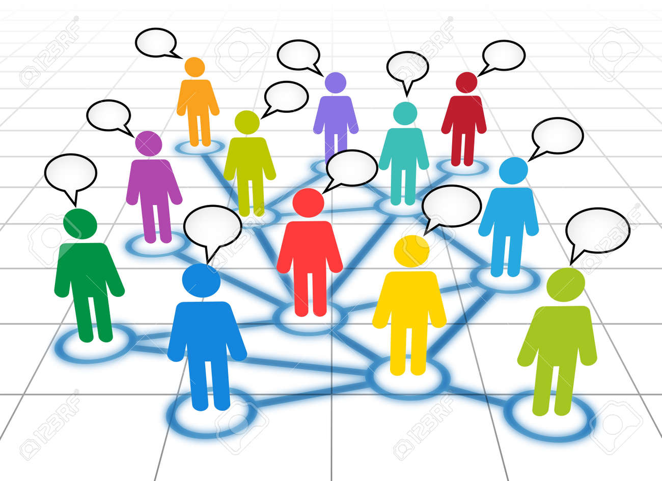 Schematic view of a social networking members with blank text clouds Stock Vector - 10932233