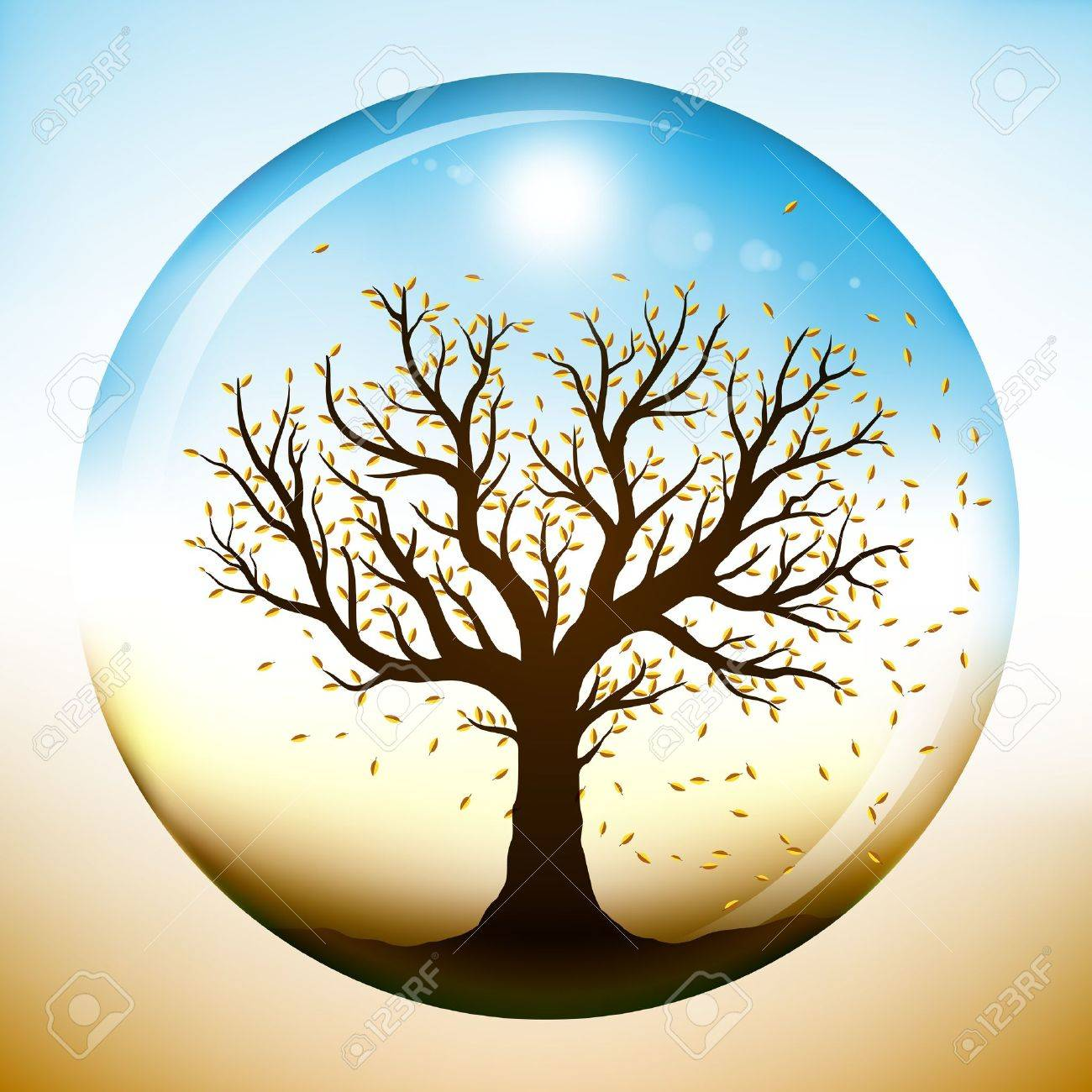 Autumn tree with falling yellow leaves, closed inside a glass sphere - 11299248