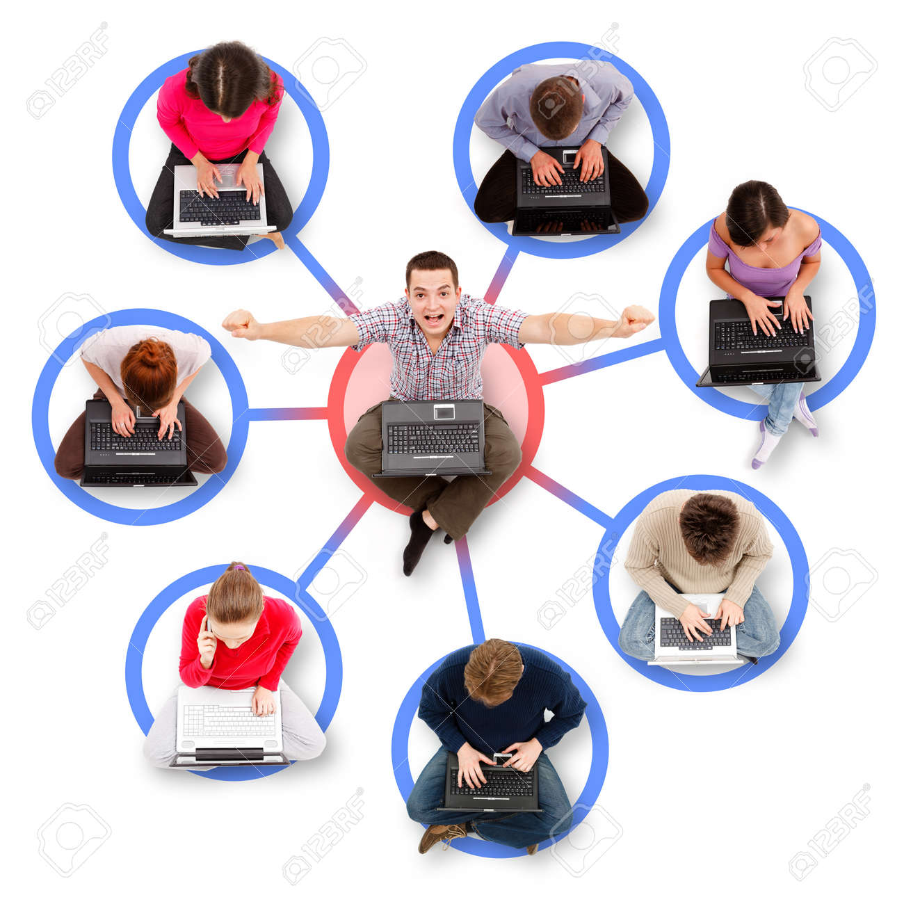Social network members sitting with their laptop computers around a successful, happy man - 11299247