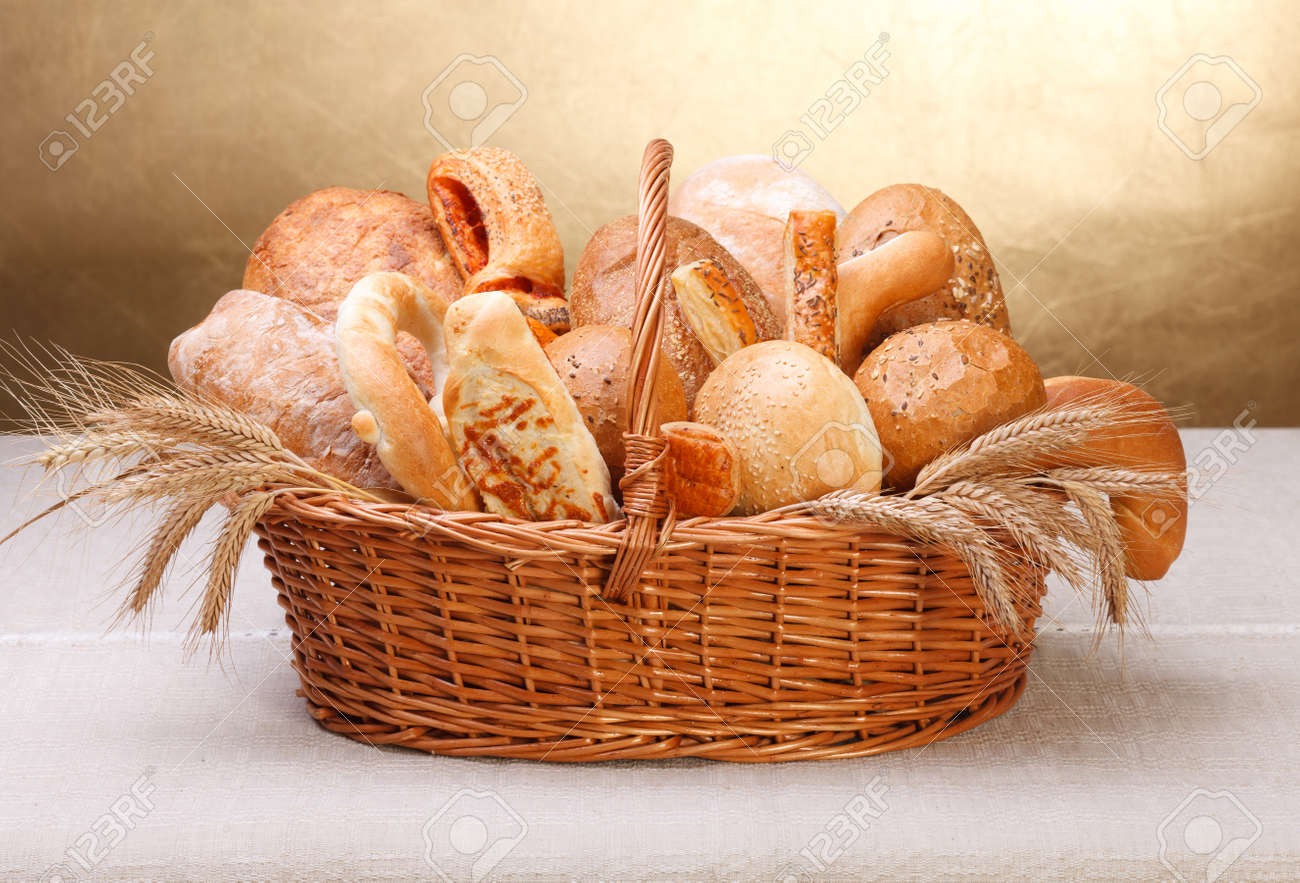 Various bakery products in basket Stock Photo - 16059606