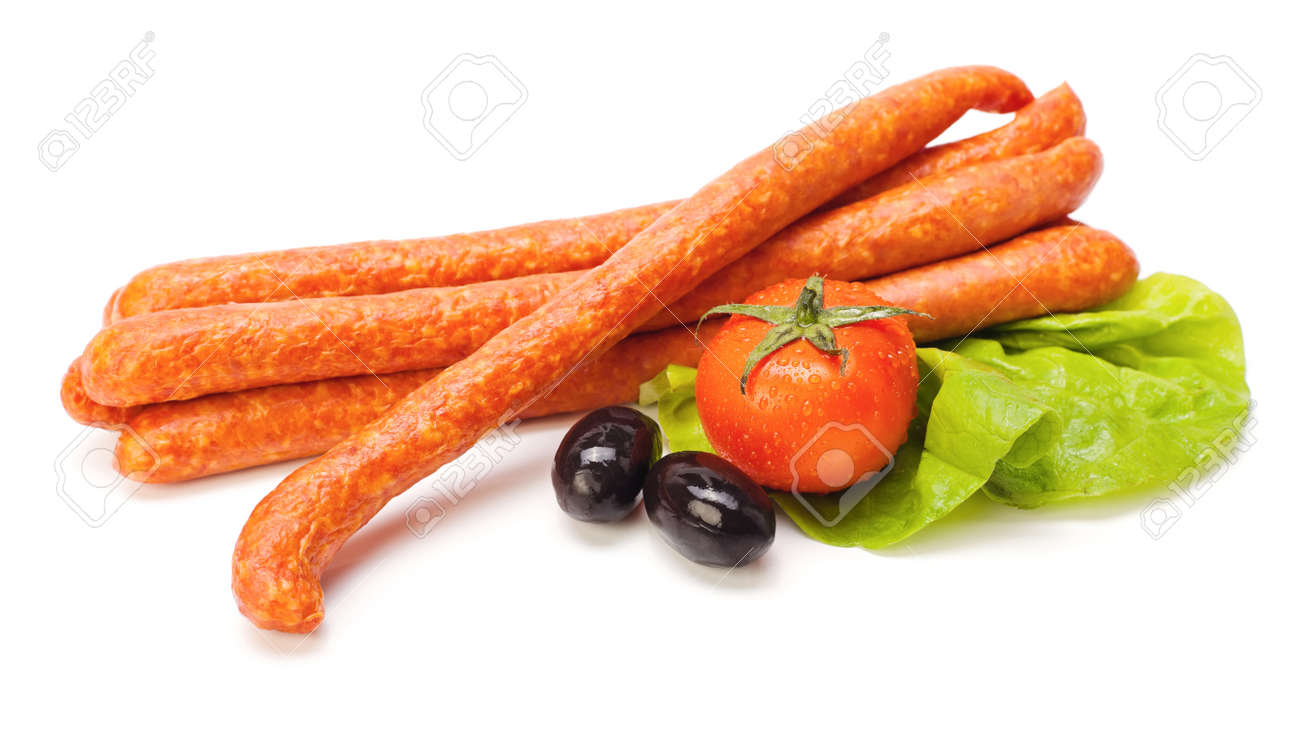 Sausages on lettuce, tomato and olive decoration Stock Photo - 16059563