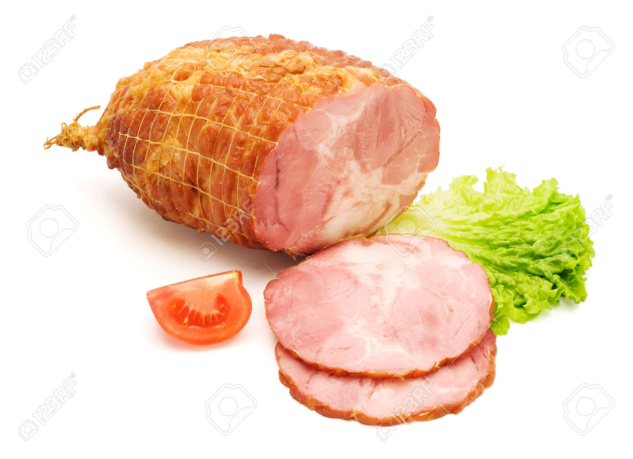 Sliced boneless and tied ham on white background Stock Photo - 16059559