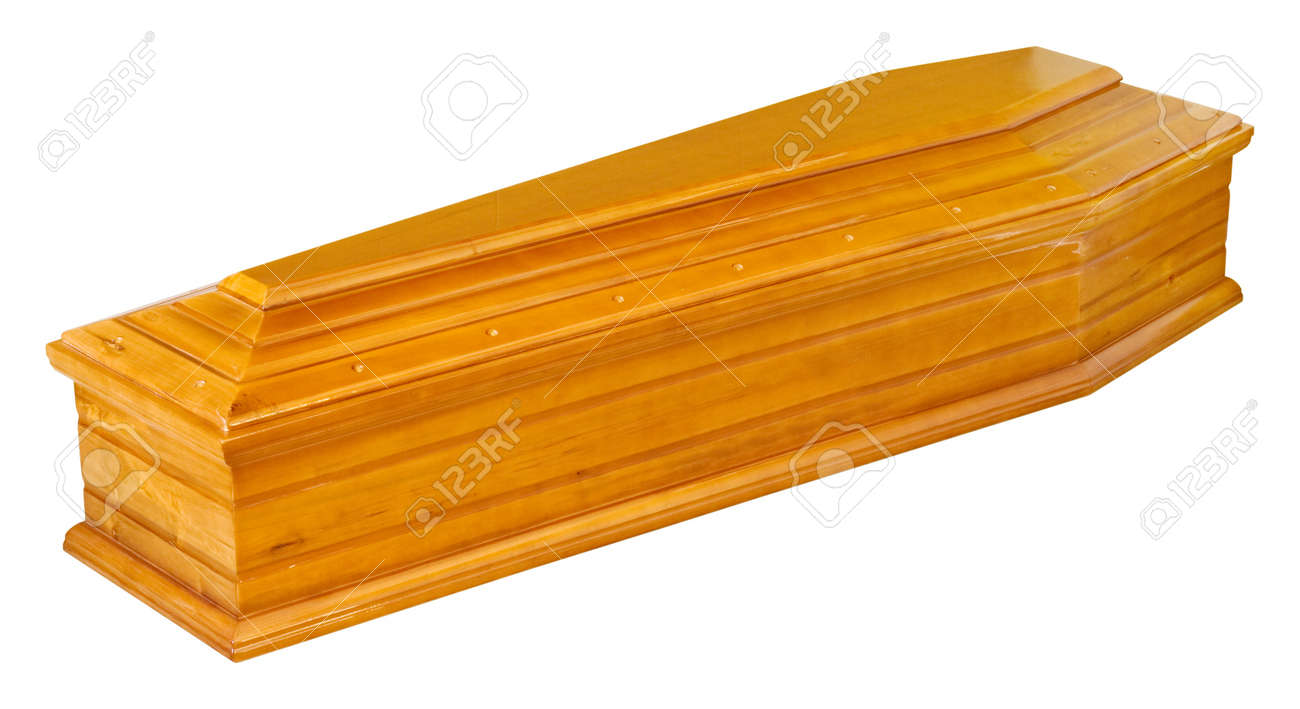 Wooden coffin in perspective - isolated - 19111749