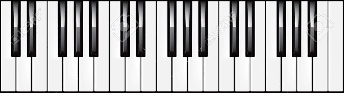 vector illustration of a 3-octave piano keyboard royalty free