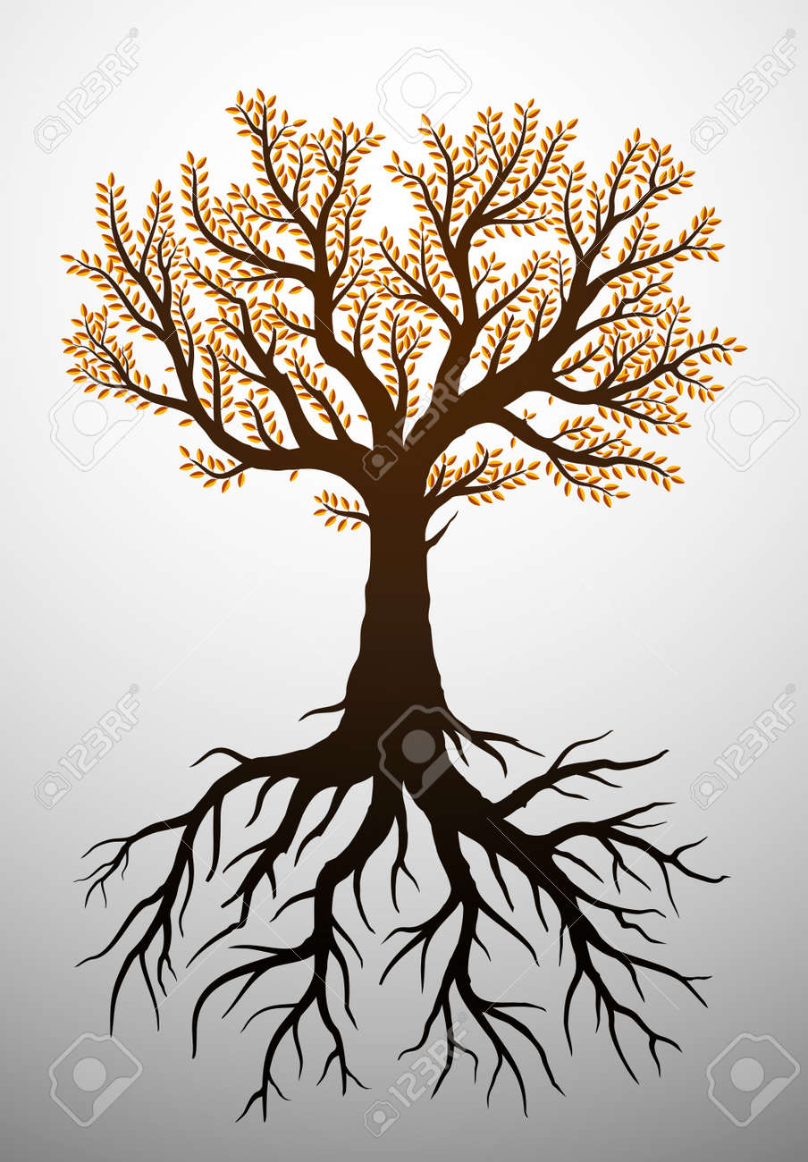 Autumn tree illustration with leaves and roots - 22099743