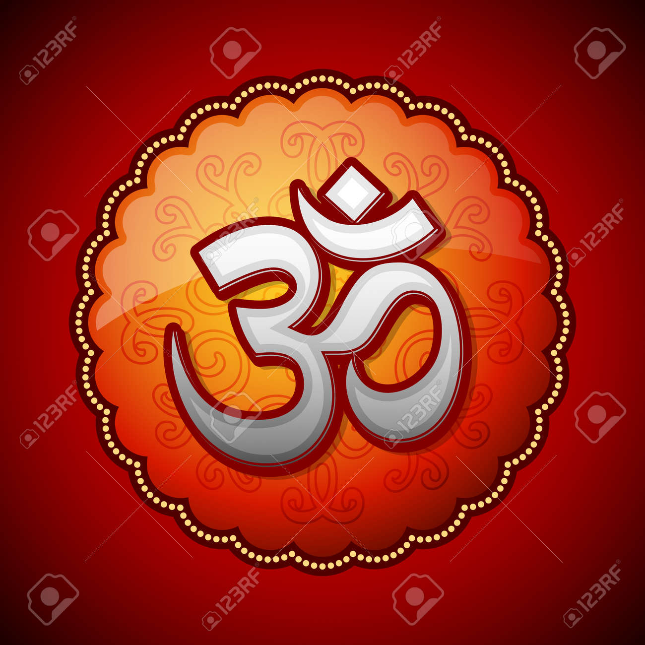Om Sanskrit Symbol In Round Royalty Free Cliparts Vectors And