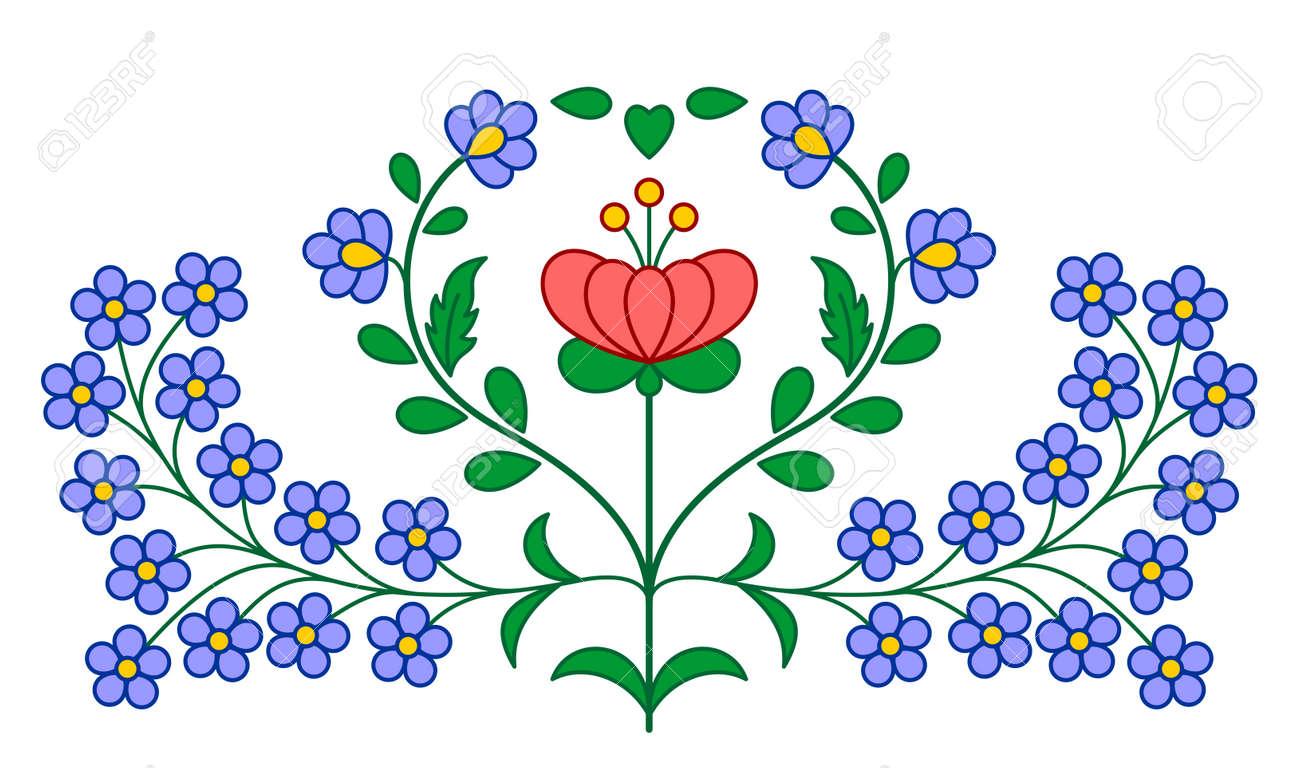 Bordado Húngaro Motivos Florales Tradicionales Aislados En Blanco ...