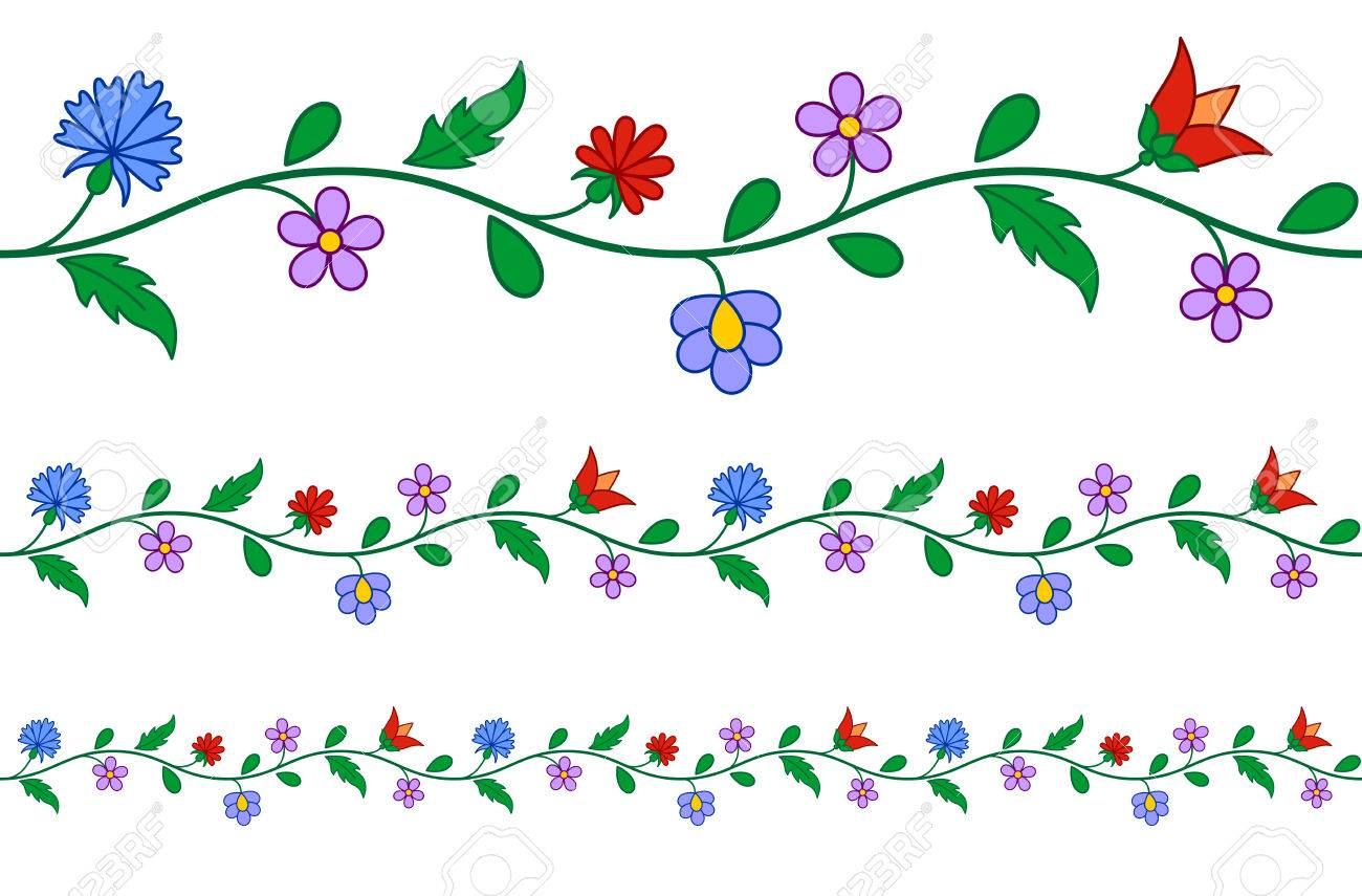 Horizontally seamless Hungarian embroidery floral pattern - 37437422