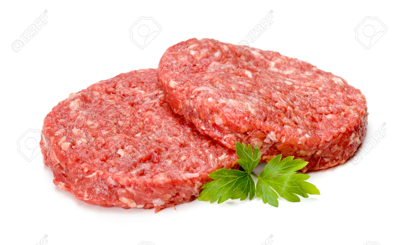 Uncooked Hamburger Meat On White Stock Photo Picture And Royalty