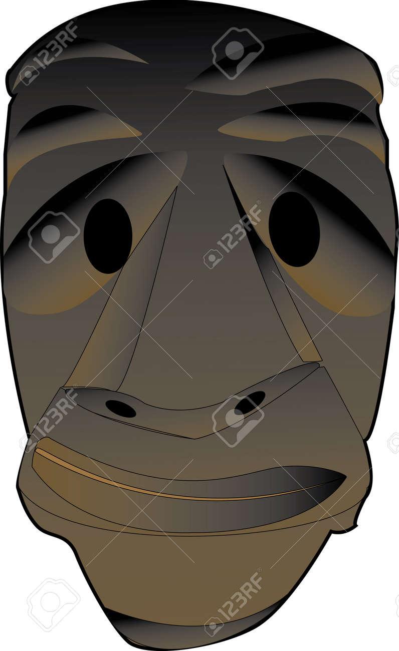 Illustrazione Di Una Maschera Da Mammuthones Del Carnevale Sardo