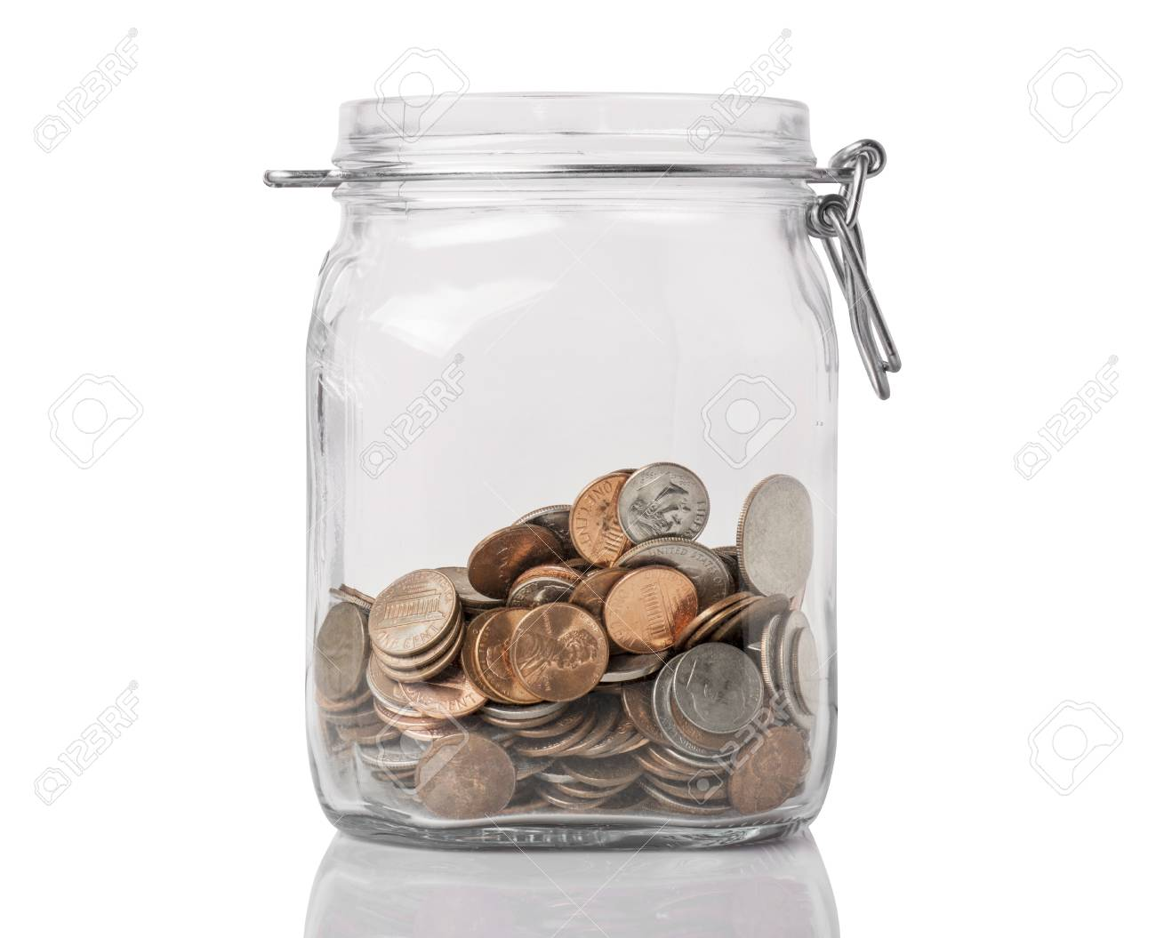 A Jar With American Change Used For Savings Or Tips, Isolated ...