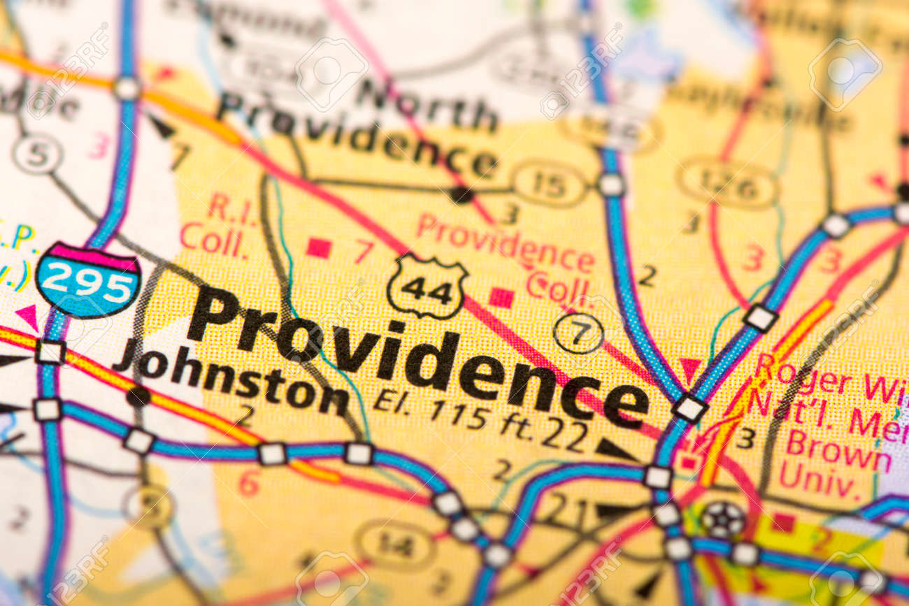 Closeup Of Providence, Rhode Island On A Political Map Of The ...