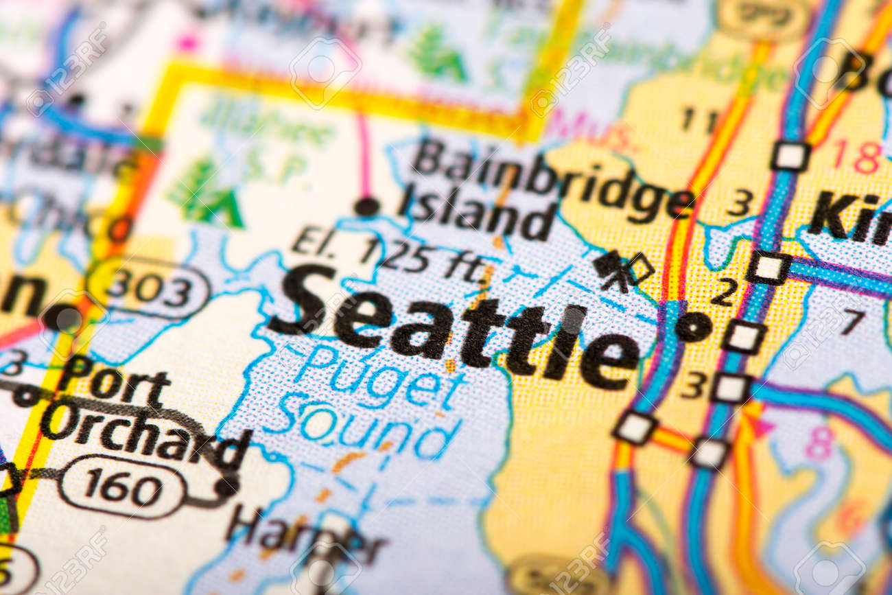 Closeup Of Seattle, Washington On A Political Map Of The United ...
