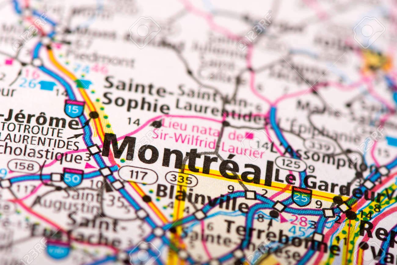 Pics Of Canada Map.Closeup Of Montreal Quebec On A Political Map Of Canada Stock