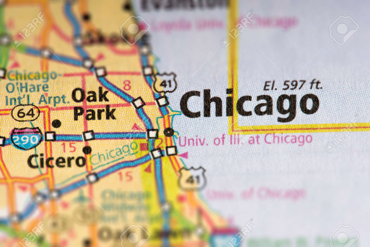 Closeup Of Chicago Illinois On A Road Map Of The United States - Chicago-illinois-us-map