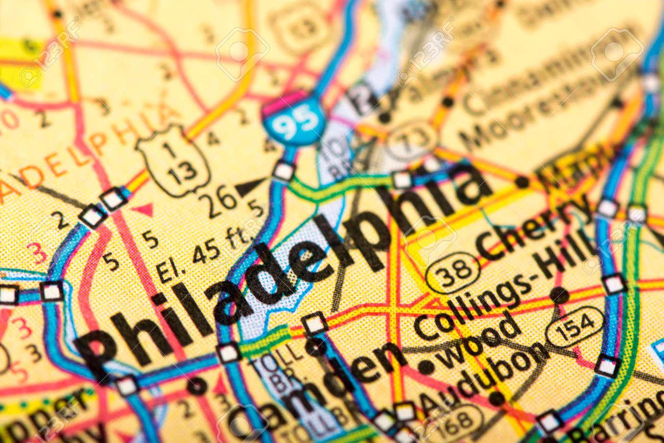 Closeup of Philadelphia, Pennsylvania on a political map of the..