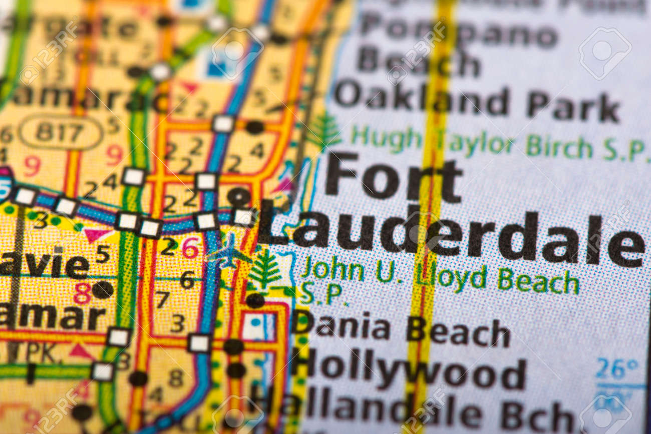 Map Of Fort Lauderdale Florida.Closeup Of Fort Lauderdale Florida On A Political Map Of The