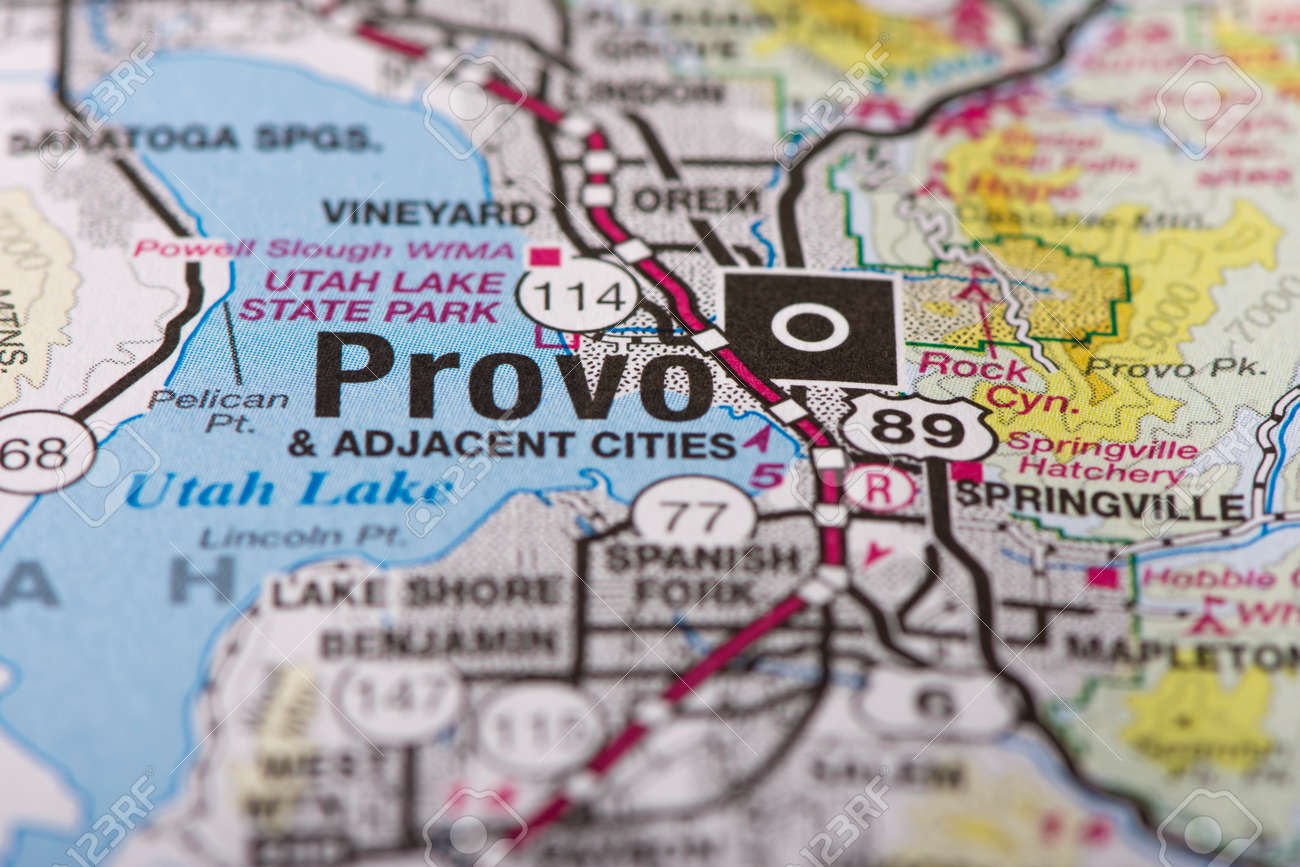 Closeup Of Provo Utah On A Political Map Of The United States