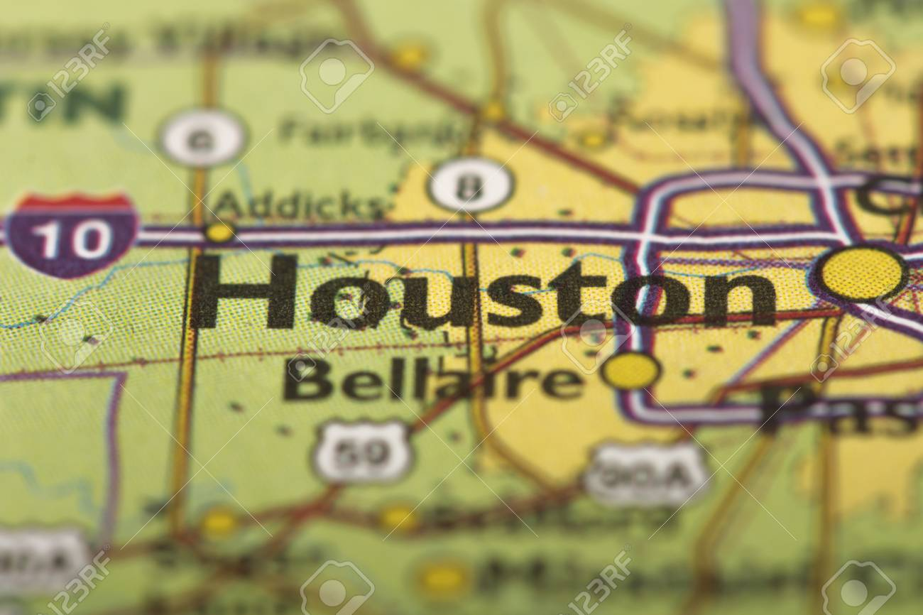 Closeup Of Houston Texas On A Political Map Of The United States