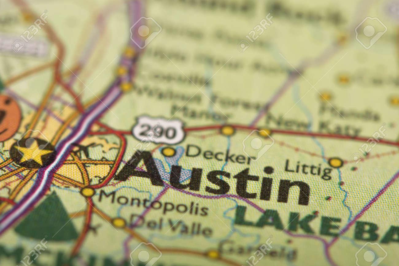 Austin Texas Karte.Closeup Of Austin Texas On A Political Map Of The United States